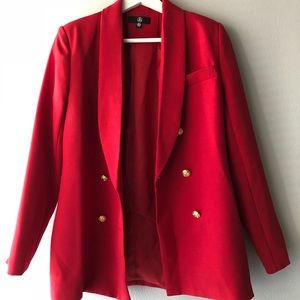 Missguided red button blazer